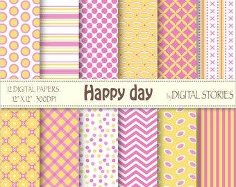 "SALE 50% Pink Yellow Digital Papers: ""HAPPY DAY"", scrapbook digital paper set with chevron, dots, stripes for cards, baby shower, invitation"