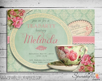 Vintage Tea Cup Bridal Shower / Baby Shower / Birthday Party Invitation (Custom DIY Printable)