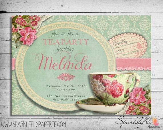 Vintage Tea Cup Bridal Shower Baby Shower Birthday Party – Tea Party Wedding Shower Invitations