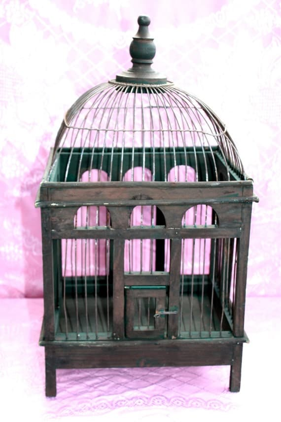 Antique Wood And Metal Wire Bird Cage Very By Queenieseclectic