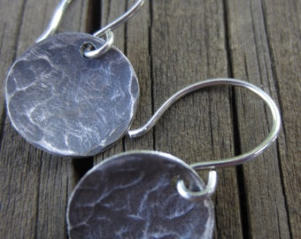 SALE! Oxidized Silver Disc Earrings, Hammered Silver Earrings