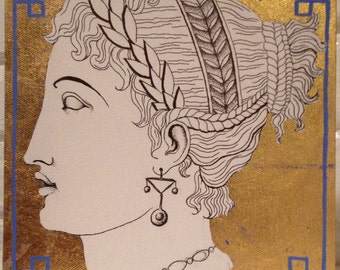 Empire style ink drawing with gold leaf