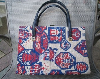 SUMMER 1960s Tapestry Handbag with Navy Blue Faux Leather