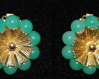 signed coro faux jade and goldtone earrings