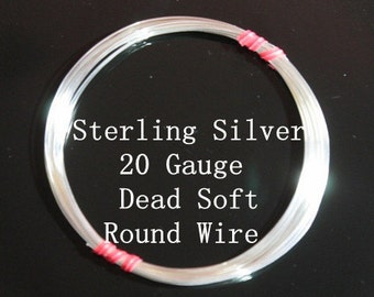 20 g ga Gauge Sterling Silver Wire - Round - Dead Soft - sold by 1 foot increment (RW2002SS)