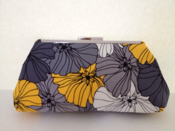 Grey, Yellow Floral Clutch Purse with Nickel/Silver Finish  Metal Clasp