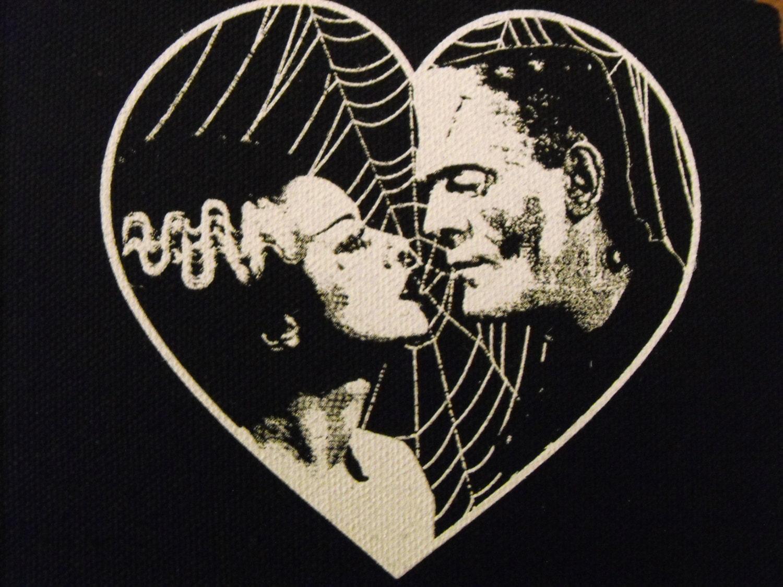 Frankenstein und braut herz patch gothic horrorpunk free