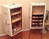 Upcycled trunks wine and liquor cabinets and bar.  Wine storage