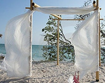 Bamboo Beach Wedding Arch/Bamboo  Chuppah, Wedding Arch Fabric, Starfish Chair/Aisle Way Decorations - Beach Wedding Decorations