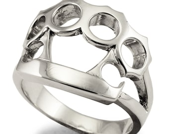 Brass Knuckle Duster Ring in Sterling Silver 925