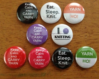 Knitting Buttons Great Gift for Knitters 1 Inch Pinback Button Set of 9 Knitting Buttons