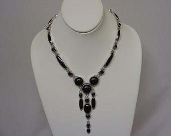 Black Onyx Sterling Silver Necklace... Made to Order
