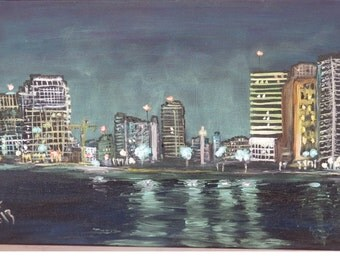 Original Oil painting.Tel-Aviv at night.View from Jaffo