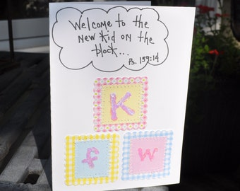 Baby Greeting Card   Welcome To The New Kid On The Block