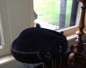 1950's Black Velvet Hat w/ Sequin Design at Face