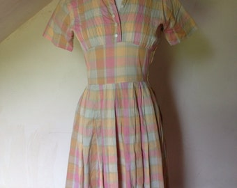 1940's Spring/Summer Pastel Plaid Day Dress