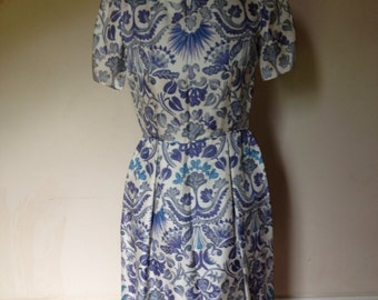 1960's Silk Scroll & Floral Print Day Dress