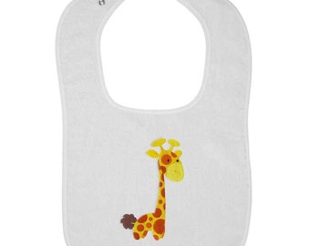 Patterned Giraffe Embroidered Terry Cloth Bib