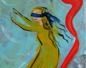 "Origninal Art 10x12"" Expressionist Acrylic Canvas Modern Contemporary Girl Searching Blindfold Blue Red Yellow Dress - MelindaCheneyArt"