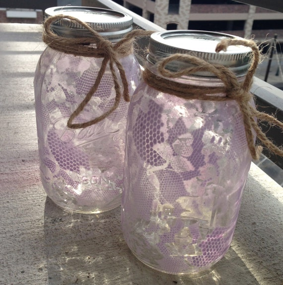 lace painted mason jar white lilac quart size. Black Bedroom Furniture Sets. Home Design Ideas