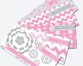 Printable Cash Envelope System - Budget Helper - Pink and Gray/Chevron and Flowers by Pretty Finances
