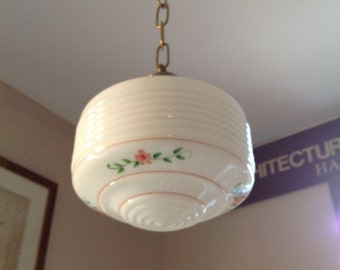Antique Kitchen Light Fixture with Glass Shade - Schoolhouse, 1950's, hand-painted floral detail