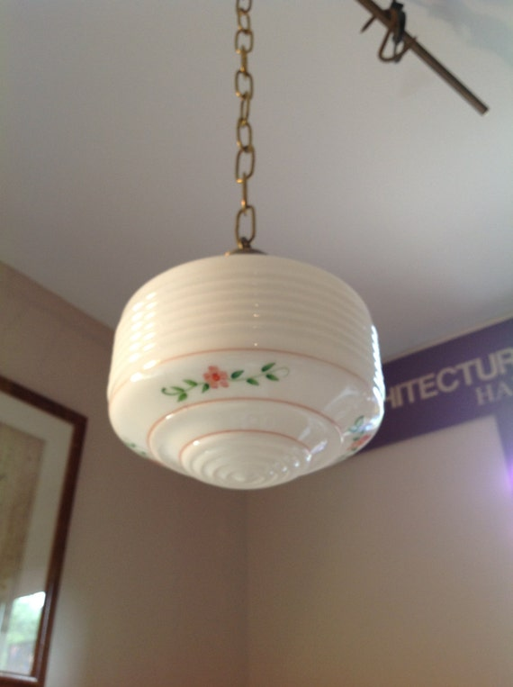 Antique Kitchen Light Fixture With Glass Shade Schoolhouse