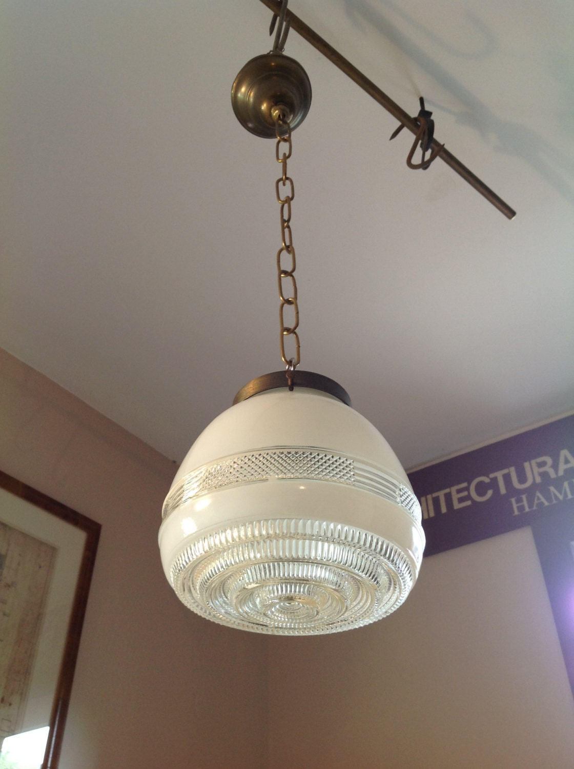 antique kitchen light fixture with glass shade deco