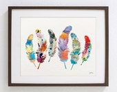 Art Watercolor Painting, Whimsical 6 Feathers - 8x10, 11x14 Archival Print - Colorful Art, Dreamy Wall Decor, Feather Silhouette Wall Art