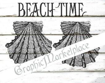 Beach Time Sea Shabby Transfer Instant Download Burlap Fabric digital collage sheet maritim graphic printable No. 453