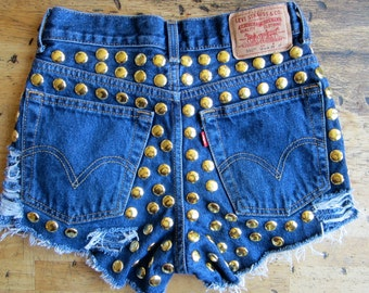 Vintage Levi's navy denim high waist cut off festival shorts massive round gold studs distressed frays