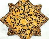 Indian Pillow cover/Indian Home decor cushion /Black yellow Hand embroidered pillow cover/Crewel embroidery pillow/ Suzani pillow