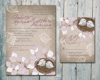 Digital - Printable Files - Vintage - Couple Love Birds and Nest Wedding Invitation and Reply Card Set - Wedding Stationery - ID120V