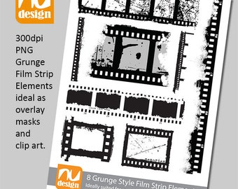 8 Digital Grunge Film Strip Clipart Elements - 300dpi PNG Files. Ideal for Scrapbooking. Use as Overlay Masks to add texture.