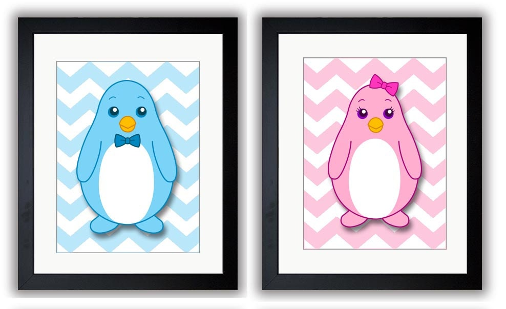 Cute Couple of Penguins Penguin Nursery Art Print Child Baby Art Blue Pink Prints Set of 2 Kids Room