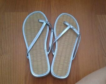 Blue Metallic Bamboo Flip Flops