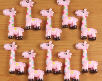 Lot 10pcs Cute Pink Giraffe Animal Resin Flatbacks Flat Back Scrapbooking Hair Bow Center Crafts Making Embellishments DIY