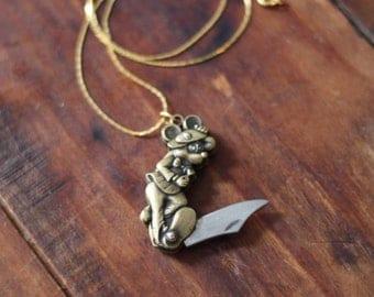 Dancing Mouse Brass Pocket Knife Necklace