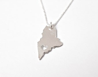 i heart Maine Necklace - Sterling Silver Maine State Necklace State Love Maine Map Jewelry Personalized State Necklace With Heart