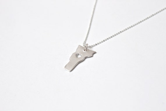 i heart Vermont Necklace - Silver - Vermont State Necklace With Heart Custom Love Necklace Hometown Vermont Jewelry Native