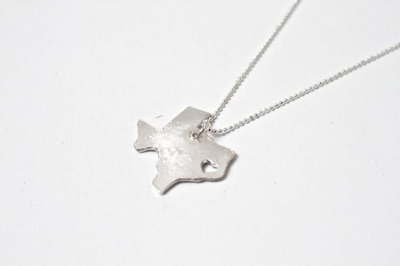 i heart Texas State Necklace - Silver - Texas Necklace Texas Pendant TX State Necklace Texas Charm Map Jewelry