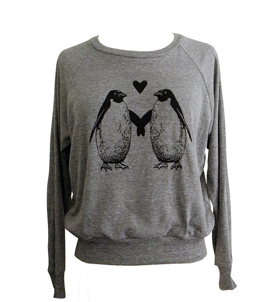 Penguin Love Raglan Sweatshirt - American Apparel SOFT vintage feel - Available in sizes S, M, L