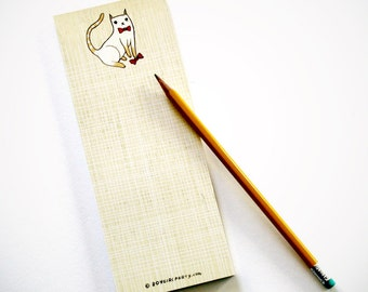 Bowtie Cat Notepad, Bow Tie Cat Stationery, Kawaii Stationery / Kawaii Stationary, boygirlparty paper goods, siamese cat gift