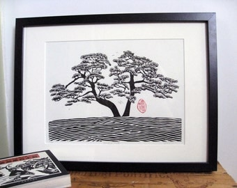 Japanese Style Linocut Print - DOUBLE PINE - Black and White Pine Tree Print 13x9 - Ready to Ship