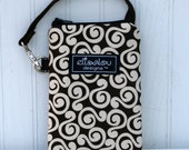 Brown Swirl Padded Gadget Pouch iPhone, iPhone 5, iPod, Touch, cellphone, camera, blackberry