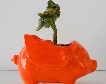 Ceramic When Pigs Fly 60s Mini Desk Pig Planter Vintage Design in Orange