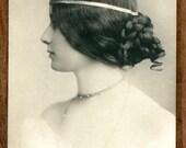 Lovely Profile of Italian Opera Singer La Cavalieri Vintage Real Photo Postcard