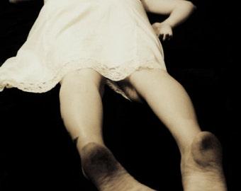 I Remember Falling - FREE SHIPPING - Girl Cream White Slip Darkness Print Black Floating Void Creepy Strange Surreal Dirty Feet