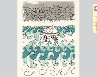 Lost . Gocco Original Print . 8x10 . Viking Ship . Blue Waves . Grey Clouds . Ladders