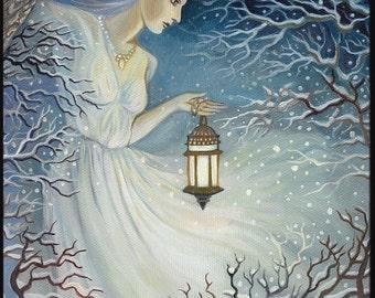 Winter Goddess Solstice Yule Art ACEO ATC Fine Art Print